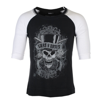 Унісекс футболка з рукавами 3/4 Guns N' Roses - Faded Skull - BL/WHT Raglan - ROCK OFF, ROCK OFF, Guns N' Roses